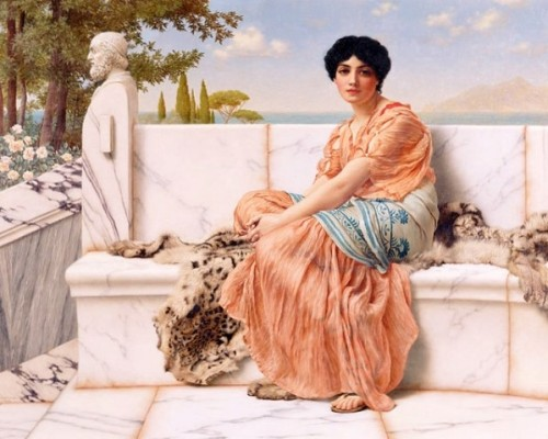 Sappho of Lesbos depicted in a 1904 painting by John William Godward titled 'In the Days of Sappho'.