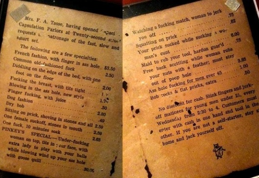 Pages from a brothel menu from 1912...kind of charming (Source - dodsonandross.com)
