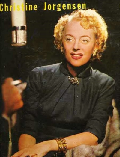"Christine Jorgensen on the cover of ""Christine Jorgensen Reveals"", her only interview released (1958)"