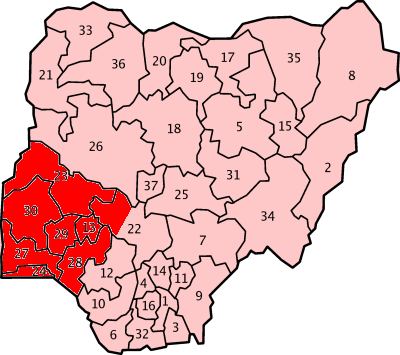 The Yoruba Area in Nigeria.